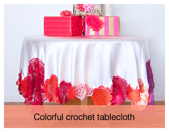 colourful crochet tablecloth