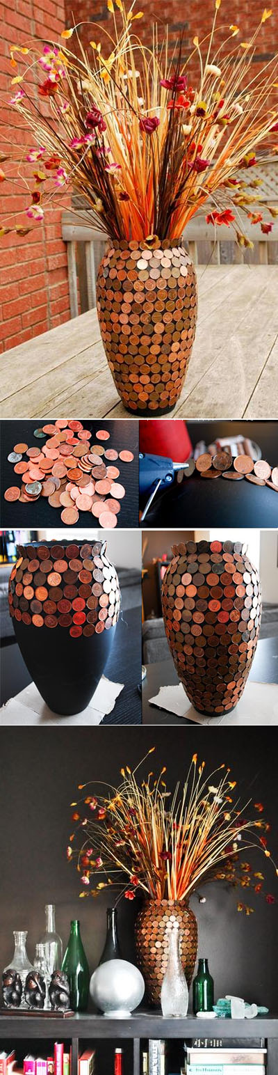 Decorated Coins Vase