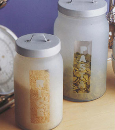 frosted glass jars
