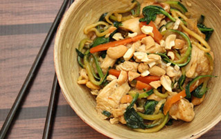 Noodle Stir Fry with Chicken and Cashews