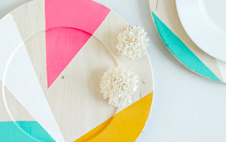 Colour Block Wooden Plates